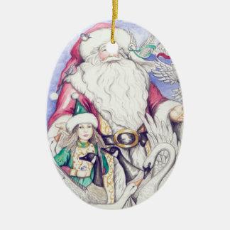 Santa's Little Helper Double-Sided Oval Ceramic Christmas Ornament