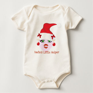 SANTA'S LITTLE HELPER HOLIDAY ELF PRINT BABY CREEPER