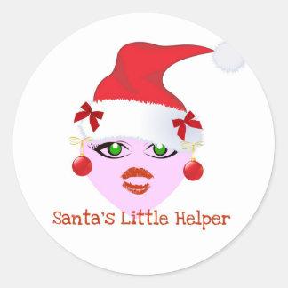 SANTA'S LITTLE HELPER HOLIDAY ELF PRINT CLASSIC ROUND STICKER