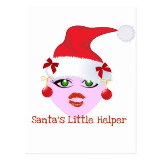 SANTA'S LITTLE HELPER HOLIDAY ELF PRINT POSTCARD