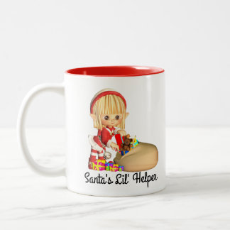 Santas Little Helper Red Girl Elf Two-Tone Coffee Mug