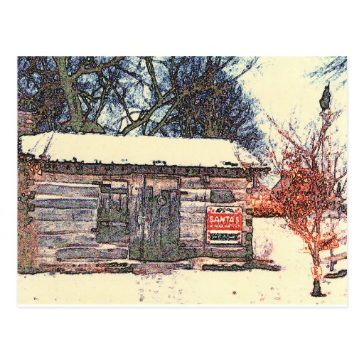 Santa 39 S Log Cabin Workshop Original Photography Postcard