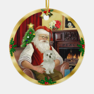 Santa's Maltese (#11) Ornaments