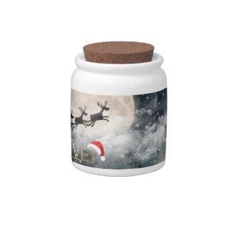 Santa's Midnight Ride Christmas Candy Jar