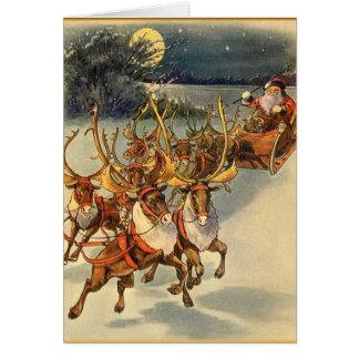 Santa's Midnight Ride Holiday Christmas Card