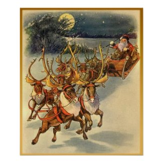 Santa's Midnight Ride Vintage Art Poster