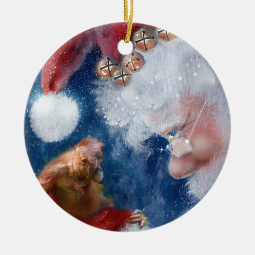 Santa's Monkey Business Charity Double-Sided Ceramic Round Christmas Ornament