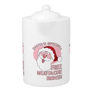 Santa's Mustache Rides teapot