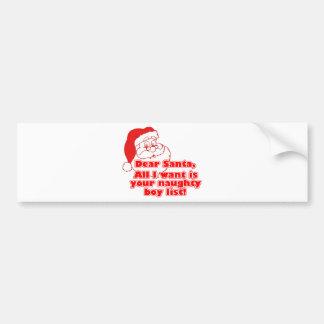 Santa's Naughty Boy List Bumper Sticker