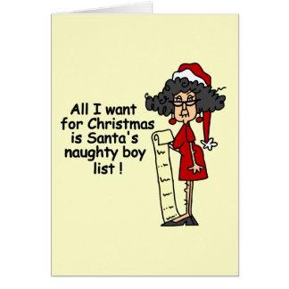 Santa's Naughty Boy List Greeting Card