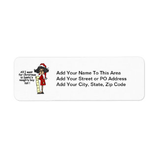 Santa's Naughty Boy List Return Address Label