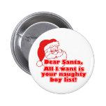 Santa's Naughty Boy List Pinback Button