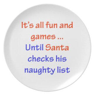 Santa's Naughty List Dinner Plate