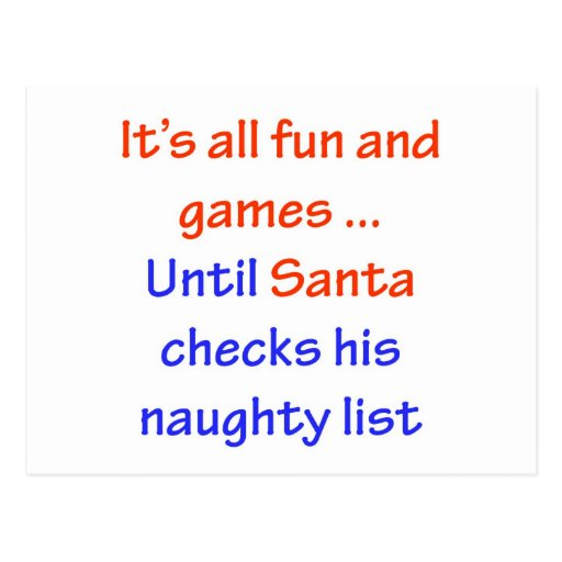 Santa's Naughty List Postcard