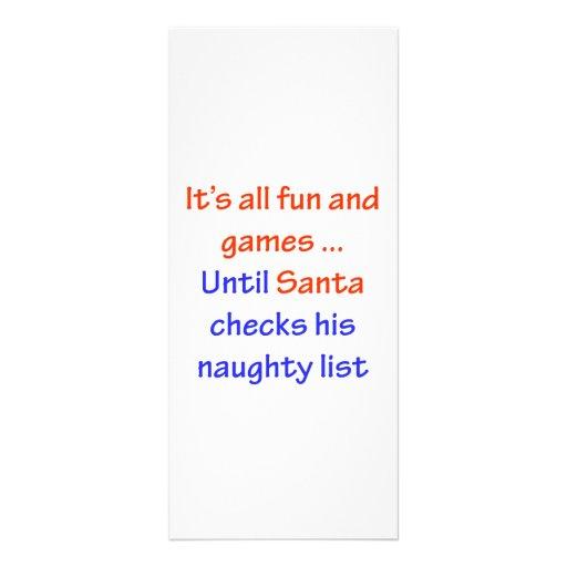 Santa's Naughty List Rack Card Template | Zazzle