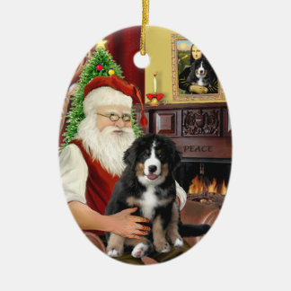 Santas new- Bernese Mountain Dog Puppy (L) Ceramic Ornament