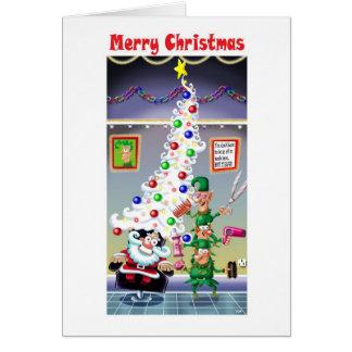Santa's New Hair Doo Greeting Card