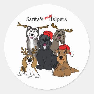 Santas new helpers classic round sticker