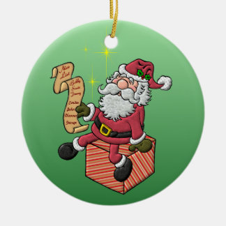 Santa's Nice List Ceramic Ornament