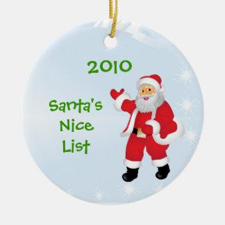 Santa's Nice List Ornament - Name on Back