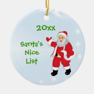 Personalized Santa's Nice List Tree Ornament