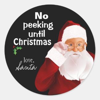 "Santa's Official ""No Peeking"" Sticker"