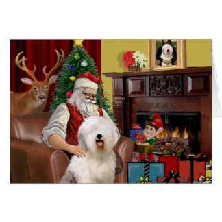 Santa's Old English Sheepdog Card
