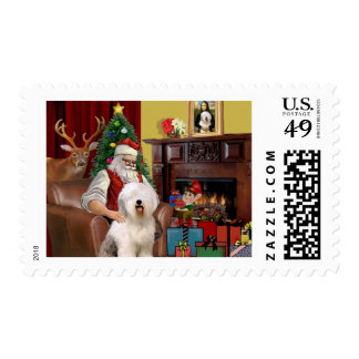 Santa's Old English Sheepdog Postage Stamp