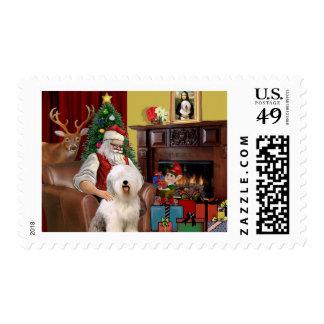 Santa's Old English Sheepdog Postage Stamp