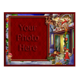 Santa's On His Way Picture Frame Post Card