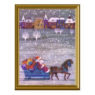 Santa's on his way post card
