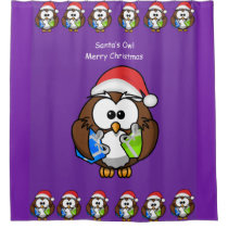 Santa's Owl children's shower curtain purple back