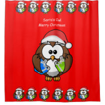 Santa's Owl children's shower curtain red back