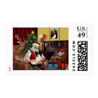 Santa's Papillon Postage Stamp