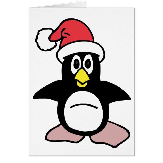 Santa's Penguin Mascot Card