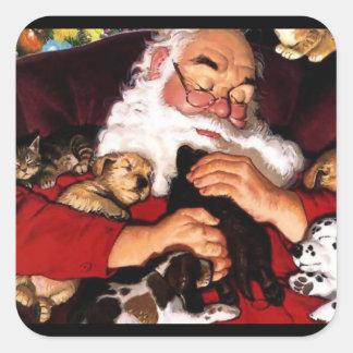 Santa's Pets Square Sticker