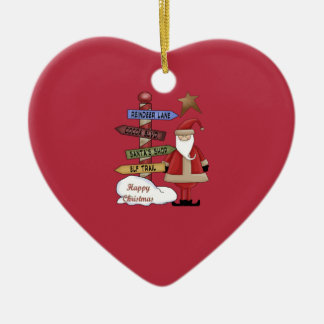 Santa's Pole Ceramic Ornament