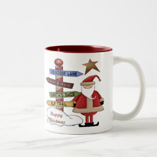 Santa's Pole Two-Tone Coffee Mug
