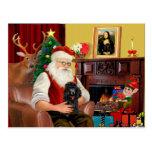 Santa's Poodle (black) Postcards