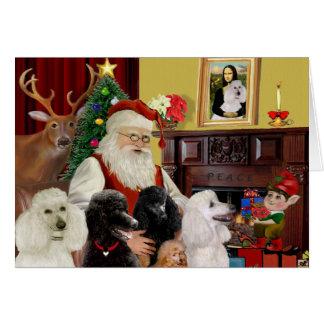Santa's Poodles (St+T) Greeting Cards