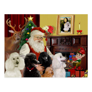 Santa's Poodles (St+T) Postcard