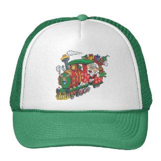 Santa's present sream train trucker hat