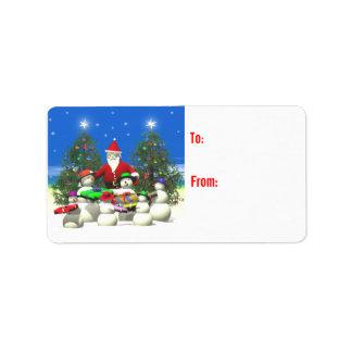Santas primero paran en navidad etiquetas de dirección