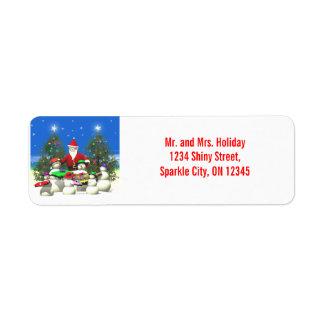 Santas primero paran en navidad etiquetas de remite