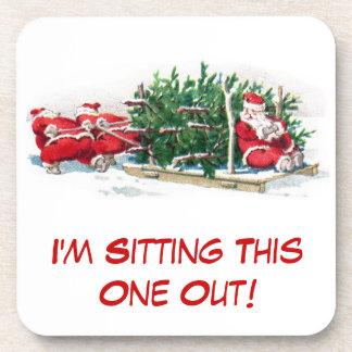 Santas Pulling Sleigh Funny Xmas Beverage Coaster
