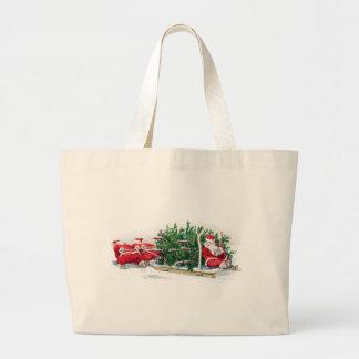Santas Pulling Sleigh Funny Xmas Large Tote Bag
