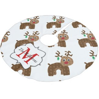 Santa's Reindeer Brushed Polyester Tree Skirt