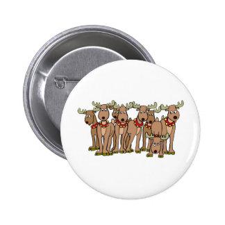 Santa's Reindeer 2 Inch Round Button