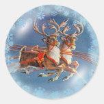 SANTA'S REINDEER by SHARON SHARPE Round Stickers