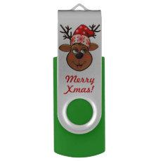 Santa's Reindeer Cartoon Flash Drive